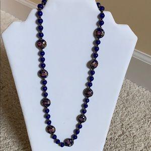 Murano cobalt blue glass vintage necklace